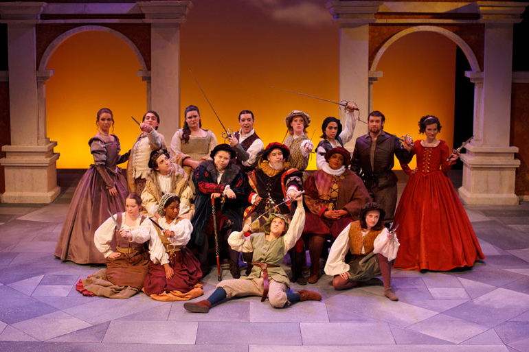 The Taming of the Shrew cast on stage